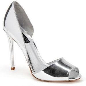 Rachel Zoe Tavon Mirror Silver Metallic Heels / 8